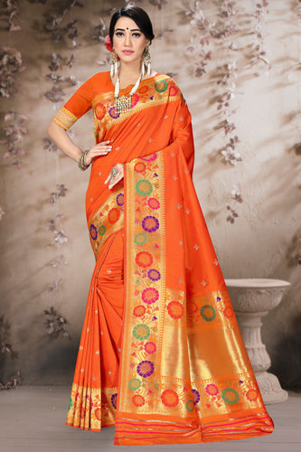 Bhelpuri Orange Poly Silk Embroidered with jaqcard Border Saree with Blouse Piece