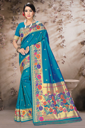 Bhelpuri Blue Poly Silk Embroidered with jaqcard Border Saree with Blouse Piece