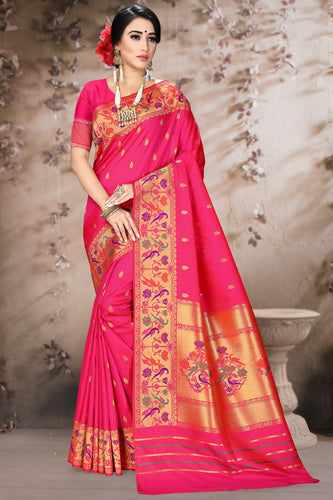 Bhelpuri Pink Poly Silk Embroidered with jaqcard Border Saree with Blouse Piece