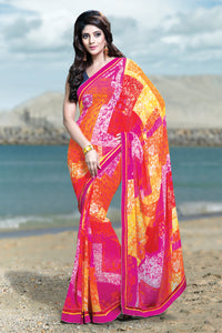 Bhelpuri Multi-color Saree with Blue Dupioni Blouse Piece