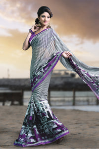 Bhelpuri Grey Georgette Printed Saree with Purple Blouse Piece