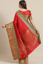 Load image into Gallery viewer, Bhelpuri Red Silk Blend Woven Saree with Red Blouse Piece