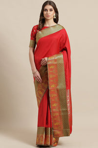 Bhelpuri Red Silk Blend Woven Saree with Red Blouse Piece