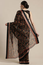 Load image into Gallery viewer, Bhelpuri Black Cotton Silk Printed Saree with Blouse Piece