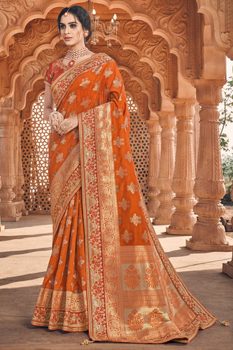 Bhelpuri Orange Silk Embroidered Saree with Orange Blouse Piece