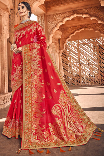 Bhelpuri Red Silk Embroidered Saree with Red Blouse Piece