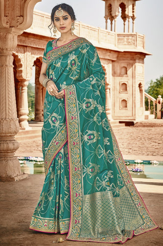 Bhelpuri Rama Green Silk Embroidered Saree with Rama Green Blouse Piece