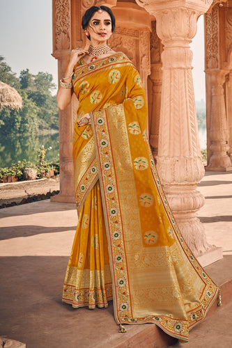 Bhelpuri Yellow Silk Embroidered Saree with Yellow Blouse Piece