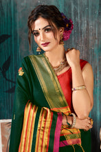 Load image into Gallery viewer, Bhelpuri Green Chanderi Woven Traditional Saree with Blouse Piece