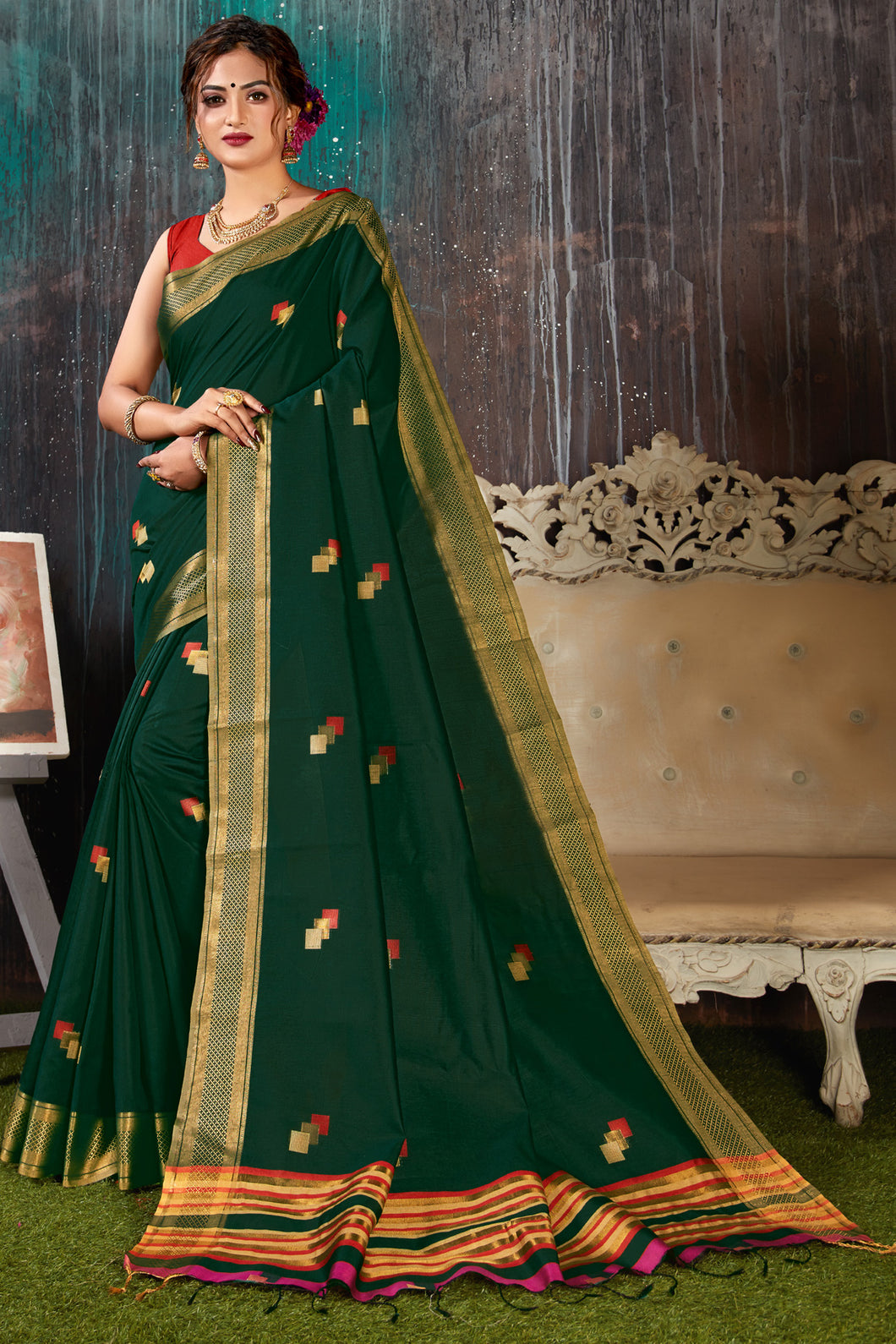 Bhelpuri Green Chanderi Woven Traditional Saree with Blouse Piece