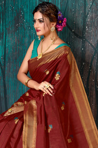 Bhelpuri Maroon Chanderi Woven Traditional Saree with Blouse Piece