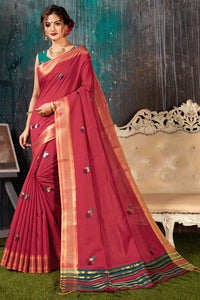 Bhelpuri Brick Red Chanderi Woven Traditional Saree with Blouse Piece