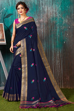Load image into Gallery viewer, Bhelpuri Navy Blue Chanderi Woven Traditional Saree with Blouse Piece