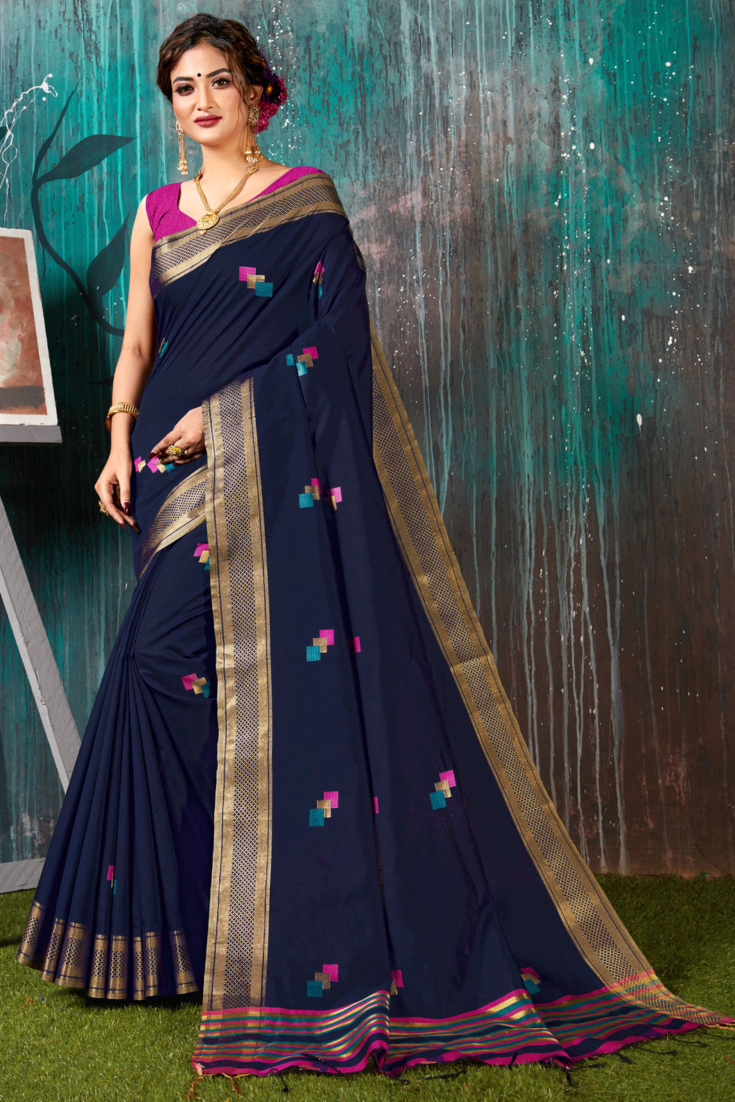 Bhelpuri Navy Blue Chanderi Woven Traditional Saree with Blouse Piece