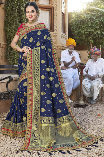 Bhelpuri Navy Blue Satin Silk Jacquard Embroidered & Tassels Saree with Pink Designer Blouse