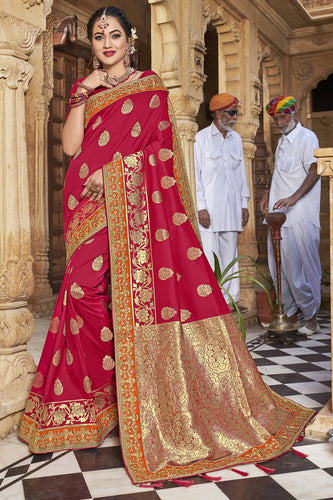 Bhelpuri Red Satin Silk Jacquard Embroidered & Tassels Saree with Red Designer Blouse