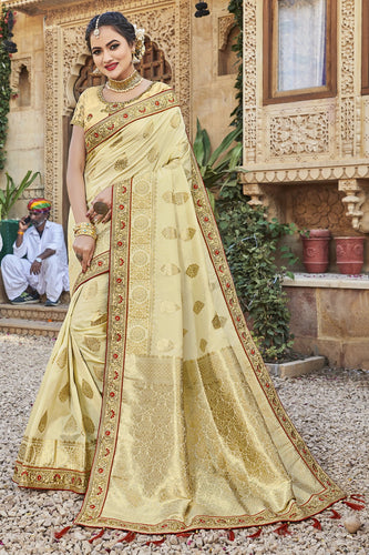 Bhelpuri Off-White Satin Silk Jacquard Embroidered & Tassels Saree with Off-White Designer Blouse