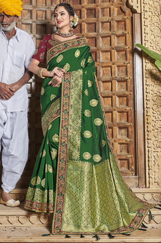 Bhelpuri Green Satin Silk Jacquard Embroidered & Tassels Saree with Magenta Designer Blouse