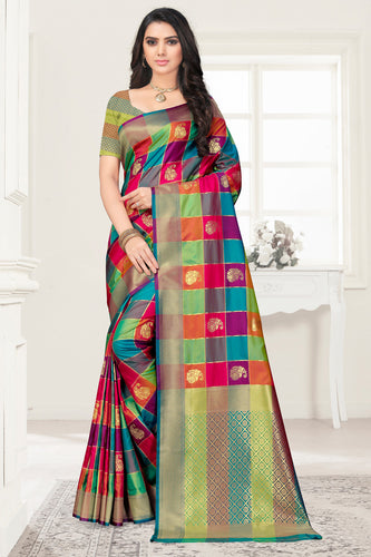 Bhelpuri Multi Color Poly Silk Embroidered with jaqcard Border Saree with Blouse Piece