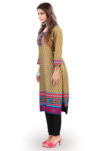 Admyrin Light Brown Cotton Floral Printed Kurti