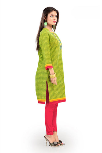 Admyrin Green Cotton Kurti Having Allover Subtle Prints
