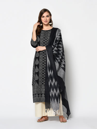 Bhelpuri Black Pure Cotton Woven Designer Party Wear Salwar Suit