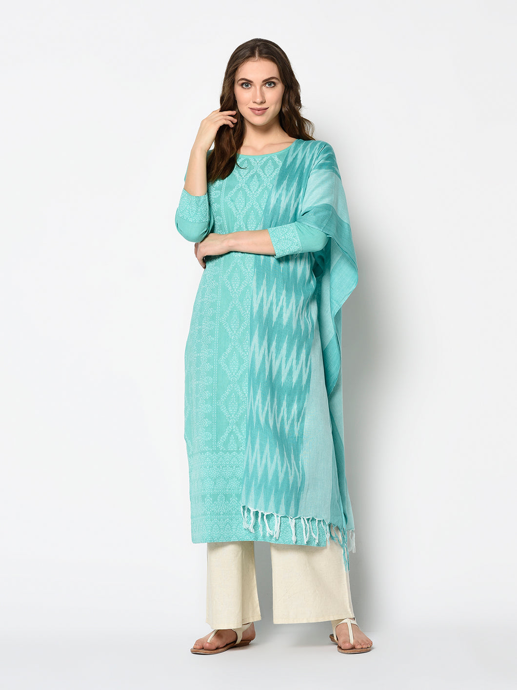 Bhelpuri Firozi rama Pure Cotton Woven Designer Party Wear Salwar Suit