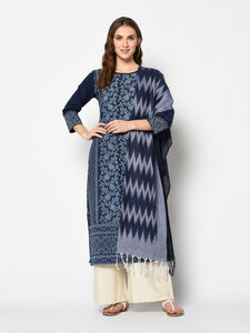 Bhelpuri Navy Blue Pure Cotton Woven Designer Party Wear Salwar Suit