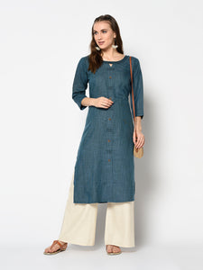 Admyrin Blue cotton Printed Kurti