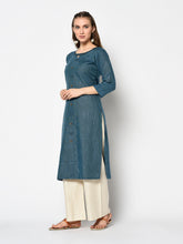 Load image into Gallery viewer, Admyrin Blue cotton Printed Kurti