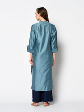 Load image into Gallery viewer, Admyrin Metal Blue soft silk Printed Kurti