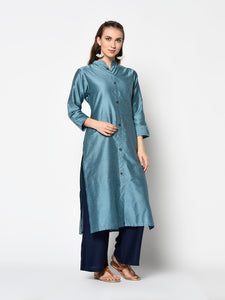 Admyrin Metal Blue soft silk Printed Kurti