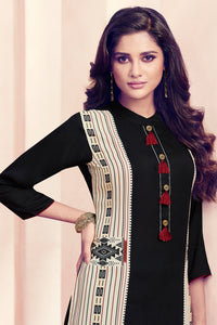 Admyrin Black and Cream Rayon Ready to Wear Kurti with Bottom