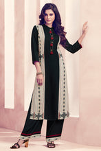 Load image into Gallery viewer, Admyrin Black and Cream Rayon Ready to Wear Kurti with Bottom