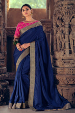 Load image into Gallery viewer, Bhelpuri Navy Blue Vichitra Silk with Jacquard Border Zari  Traditional Saree with Blouse Piece