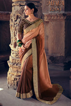 Load image into Gallery viewer, Bhelpuri Brown & Light Peach Vichitra Silk with Jacquard Border Zari  Traditional Saree with Blouse Piece