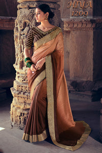 Bhelpuri Brown & Light Peach Vichitra Silk with Jacquard Border Zari  Traditional Saree with Blouse Piece
