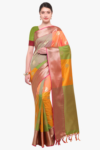 Bhelpuri Mustard Katan Silk Woven Multi-colorblock Saree With Blouse Piece
