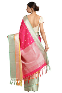 Bhelpuri Hot Pink Katan Silk Woven Solid Weaving Saree With Blouse Piece