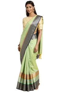 Bhelpuri Lime Green Katan Silk Woven Solid Weaving Saree With Blouse Piece