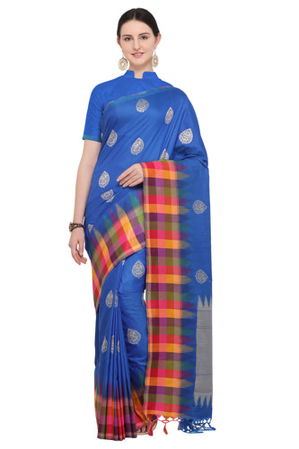 Bhelpuri Royal Blue Katan Silk Woven Paisley  Saree With Blouse Piece