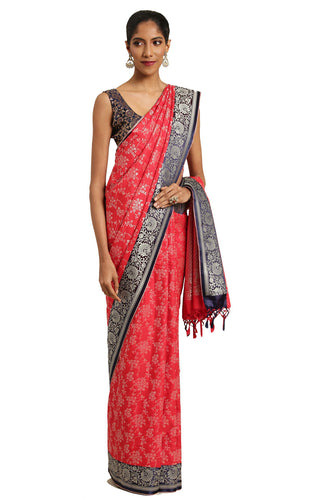 Bhelpuri Red Katan Silk Woven Floral Saree With Blouse Piece