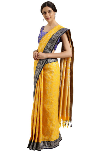 Bhelpuri Yellow Katan Silk Woven Floral Saree With Blouse Piece