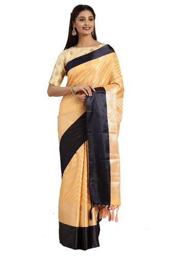 Bhelpuri Gold Katan Silk Woven Laheriya Saree With Blouse Piece