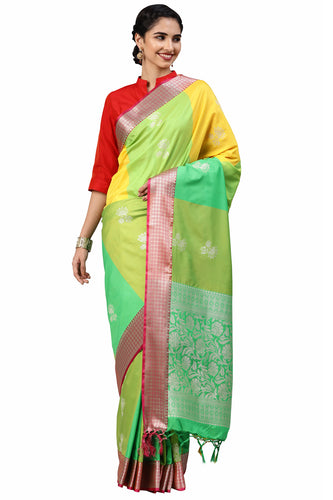 Bhelpuri Green Katan Silk Woven Multi-colorblock Saree With Blouse Piece