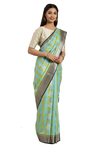 Bhelpuri Multicolor Katan Silk Woven Multicolor Checks Saree With Blouse Piece
