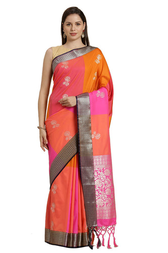 Bhelpuri Orange Katan Silk Woven Multi-colorblock Saree With Blouse Piece