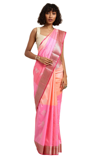Bhelpuri Peach Katan Silk Woven Multi-colorblock Saree With Blouse Piece