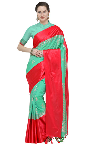 Bhelpuri Teal Green Katan Silk Woven Floral Saree With Blouse Piece