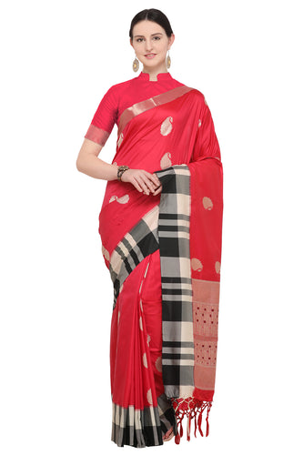 Bhelpuri Red Katan Silk Woven Paisley  Saree With Blouse Piece